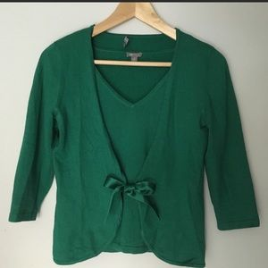 Ann Taylor Kelly Green Cardigan and Shell XS